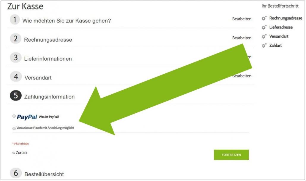 Screenshot Zahlungsinformationen